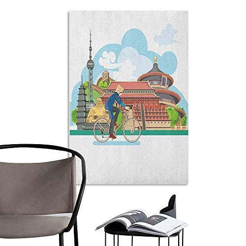 Brandosn Poster Sticker Ancient China Chinese Elements Traditional Architecture and Costumes Behind a Cycling Man Multicolor 3D Bathroom Decal W20 x H28