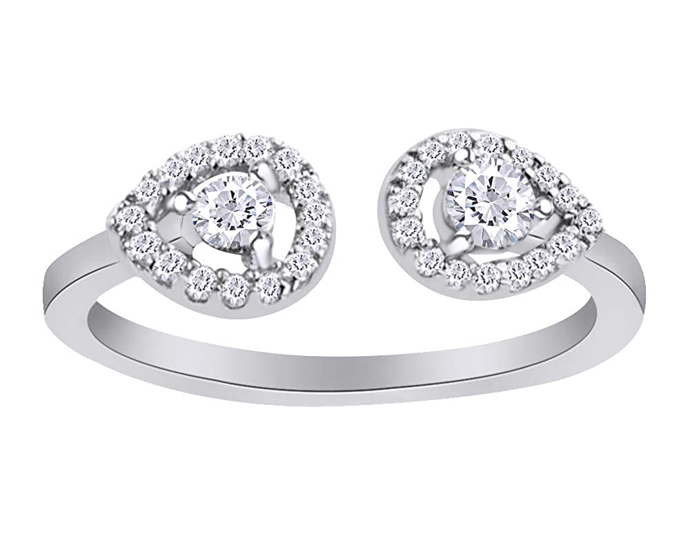 Wishrocks Round Cut White Cubic Zirconia Open Engagement Ring in 14K White Gold Over Sterling Silver