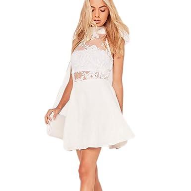 58e07dde307e1 Womens Lace Top Sleeveless Skater White Dress at Amazon Women's ...