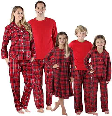 SleepytimePJs Holiday Family Matching Red Plaid Flannel Thermal Pajamas PJs  Sets for the Family 41915bce8