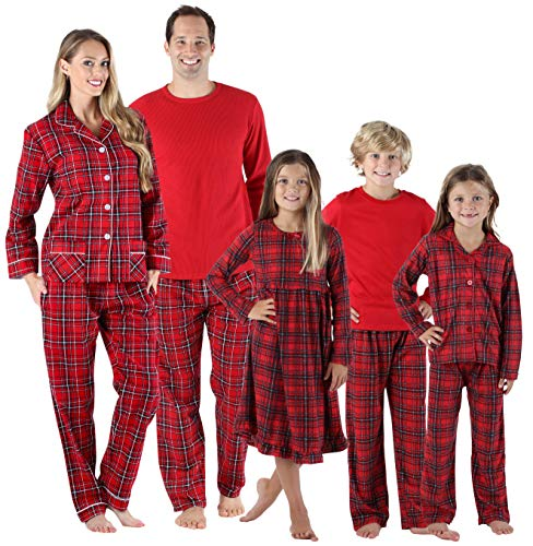 SleepytimePjs Holiday Family Matching Red Plaid Flannel Thermal Pajamas PJs Sets for The Family Women's Lounge Set (STM-3050-W-1385-Med) -