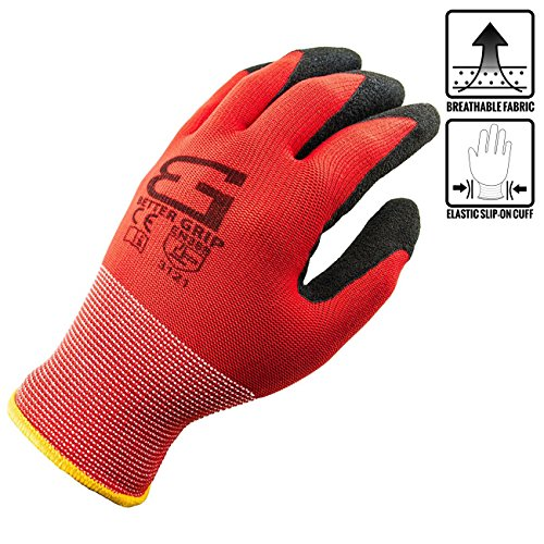 Discount (Box Deal) Better Grip Nylon Sandy Latex Coated Work Gloves, 144 Pairs/CS (Large, RED) for cheap