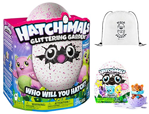 Hatchimals Glittering Garden Burtle & CollEGGtibles Blind Bag (Season 1) & Pack-A-Hatch Cinch Backpack COMBO by Hatchimals