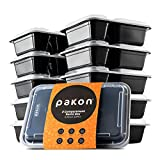 #8: Pakkon 2 Compartment Plastic Bento Lunch Box with Airtight Lid, Pack of 10
