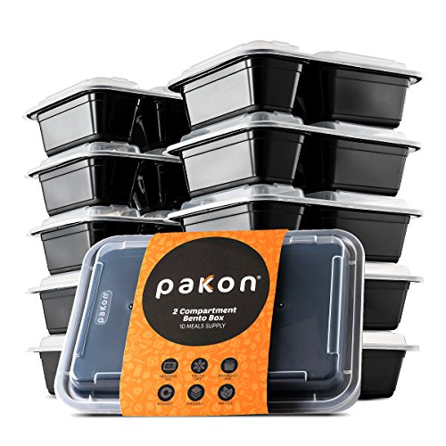 Pakkon 2 Compartment Plastic Bento Lunch Box with Airtight Lid, Pack of 10