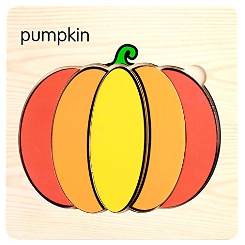 Magnetic Puzzle Toy,Efaster Creative Wooden Puzzle Educational Developmental Baby Kids Training Toy Gift (Pumpkin)