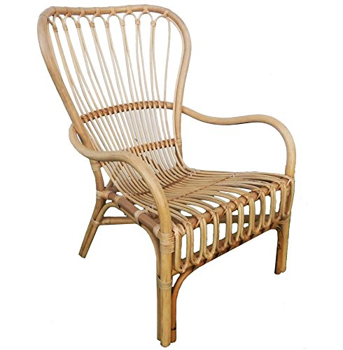 My Swanky Home Retro Vintage Style Wide Back Rattan Arm Chair   Wicker Scoop Woven (Chairs Wicker Vintage)