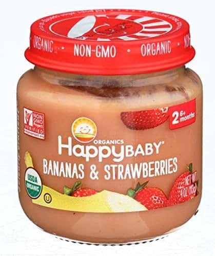 HAPPY BABY Organic Stage 2 Bananas & Strawberries, 4 OZ