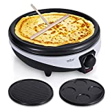NutriChef Electric Griddle & Crepe Maker – Nonstick 11.8 Inch Hot Plate Cooktop, Adjustable Temperature Control, Batter Spreader & Spatula, Used Also For Pancakes, Blintzes & Eggs PKCYM15 For Sale