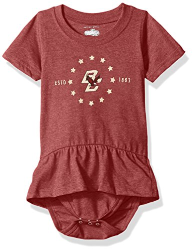 NCAA Boston College Eagles Children Girls Short Sleeve Ruffle Onesie,12M,Wine ()