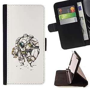BullDog Case - FOR/HTC DESIRE 816 / - / robot sci fi drawing sketch future man /- Monedero de cuero de la PU Llevar cubierta de la caja con el ID Credit Card Slots Flip funda de cuer