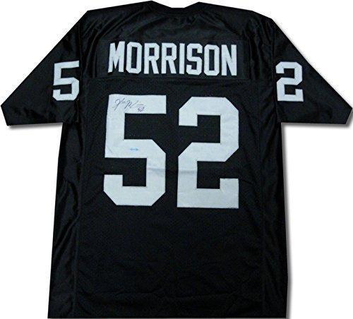 Morrison Jersey - Kirk Morrison Autographed Jersey - Black - Upper Deck Certified - Autographed NFL Jerseys