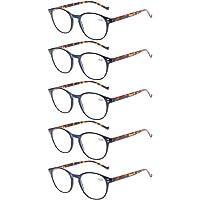 5 pares de anteojos de lectura – anteojos de resorte de ajuste estándar con bisagras para hombres y mujeres