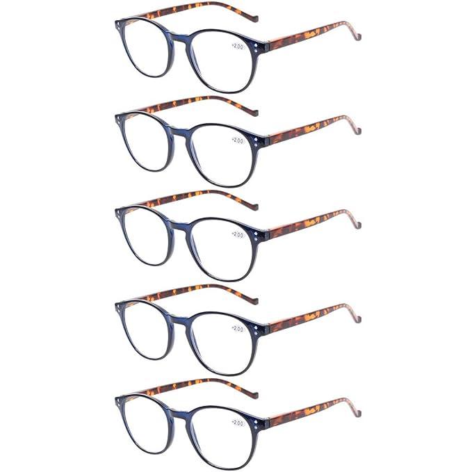 8905585e8d 5 pares de anteojos de lectura - anteojos de resorte de ajuste estándar con  bisagras para