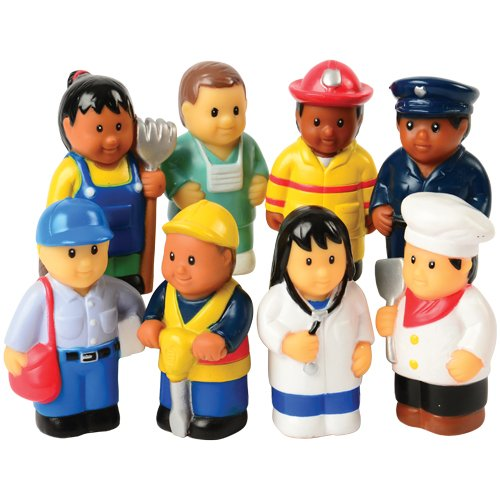 "Constructive Playthings Set of Eight 3"" H. Vinyl Community Workers Figures for Ages 3 Years and Up"