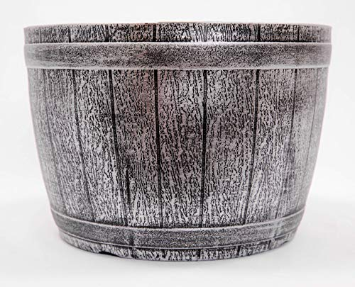 Fancy Whiskey Barrel Victorian Rustic Look Flowerpot/Planter for Nursery Indoor, Outdoor, Garden Patio Office Ornaments Home Decor Use Long Lasting Reusable Lightweight Heavy Duty - Silver Whiskey