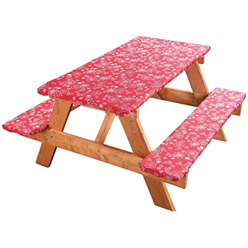 Covers For The Home Elastic Picnic Table Cover 3 Piece Set - Tonal Line Work Pattern - RED - Dress up Any Picnic Table and Benches!!!