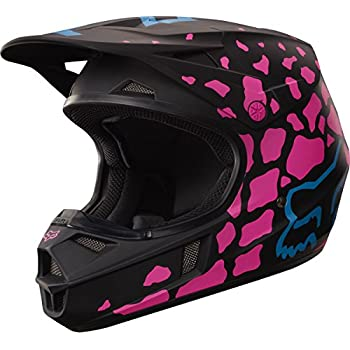 Fox Racing Grav Youth V1 Motocross Motorcycle Helmet - Black/Pink / Medium