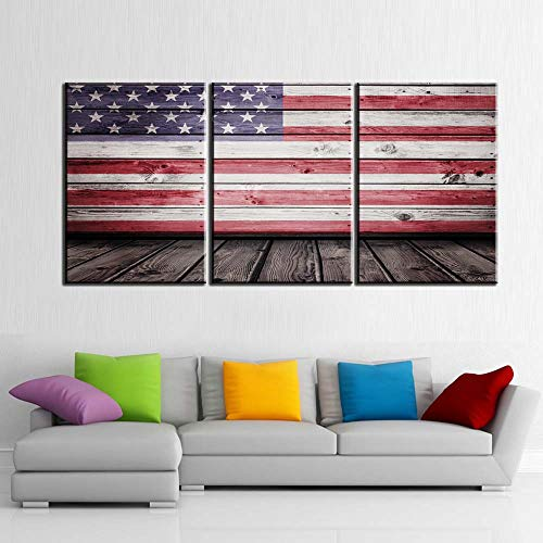 (Native American Flag Pictures for Living Room White Red Stripes Planks Paintings 3 Piece Prints Wall Art on Canvas Modern Artwork Home Decor Giclee Wooden Framed Stretched Ready to Hang(60''Wx28''H))