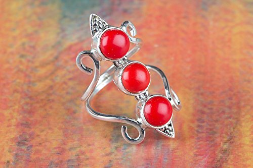 - Coral Ring, 925 Sterling Silver, Long Ring, Three Gemstone Ring, Two Band Ring, Round Shape Ring, Beautiful Red Ring, Genuine Ring, Mermaid Ring, Extant Coral Ring, US Ring Size 3-15 (Standard)