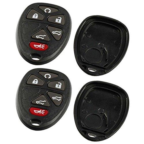 Case Shell Key Fob Keyless Entry Remote fits Chevy Tahoe Suburban / Cadillac Escalade / GMC Yukon 2007 2008 2009 2010 2011 2012 2013 2014 (15913427), Set of 2