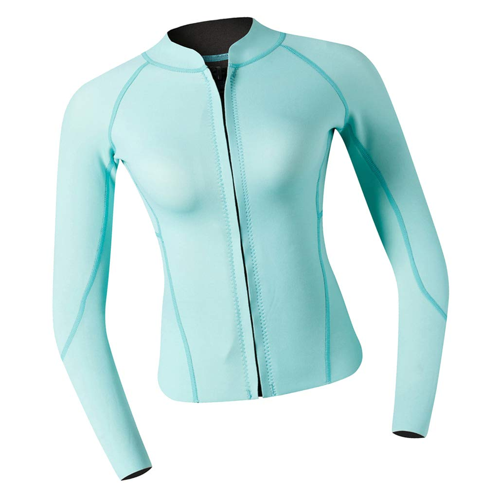 Small DYNWAVE Women Top Wetsuits Neoprene 2mm Water Sports Jackets Diving Suit for Diving, Snorkeling & Swimming Cyan