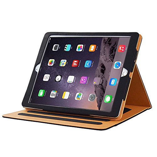 Soft Leather Case Cover - I4UCase Apple iPad 9.7 Inch 2017/2018 (5th/6th Generation) Case - Soft Leather Stand Folio Case Cover for iPad 9.7 Inch 2017, with Multiple Viewing Angles, Auto Sleep/Wake, Document Pocket (Black)