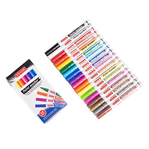 ZEYAR Paint Markers, AP Certified, Extra Fine Point, 18 colors, oil-based, Permanent & Waterproof ink, Works on Rock, Wood, Glass, Metal and Ceramic and Almost All Surfaces