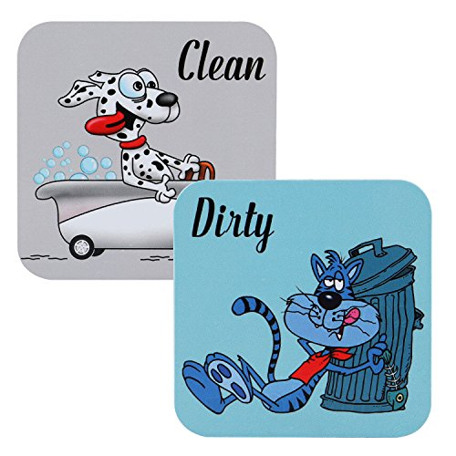 Premium Dishwasher Magnet Clean Dirty Sign, 3.0???¡¥x3.0'' iRush Non-Scratching Backing Rotated Indicator Works for Dishwashers, Reminder Tells Whether Dishes Are Clean or Dirty