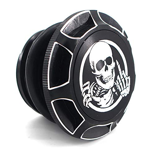 CNC Aluminum Fuel Gas Tank Oil Cap For Harley Davidson Sportster XL 1200 883 X48 Dyna - Skeleton Middle Finger (Black)