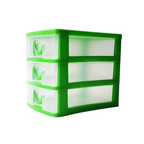 Jancery - Organizador de cajón de plástico para Escuela, Oficina y Juguetes Infantiles (3 cajones), plástico, Verde, 13 * 9 * 11.5CM