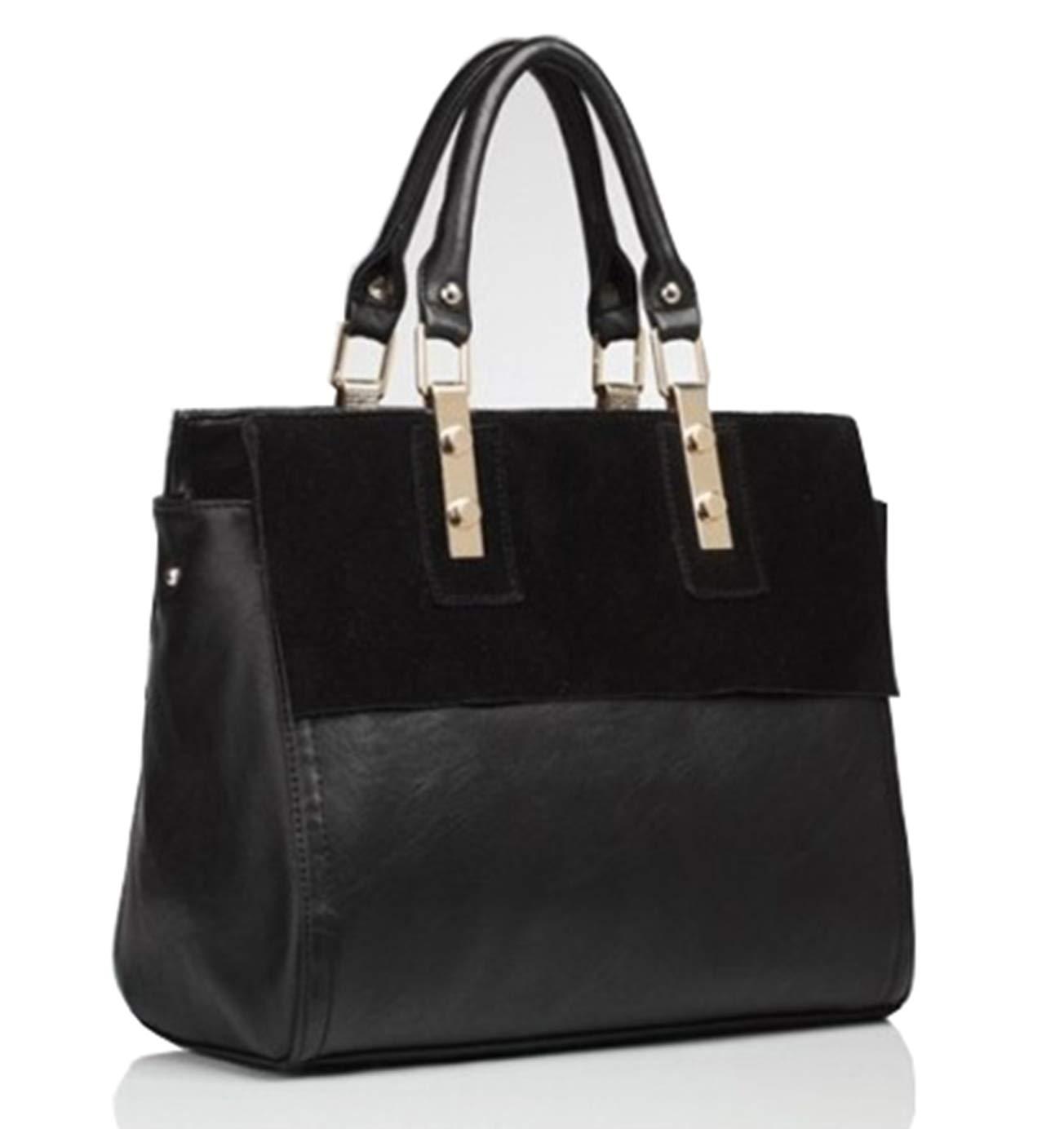 Guguyeah Womens Classy Genuine Leather Top Handle Satchel Shoulder Tote Bag(Black) by Guguyeah