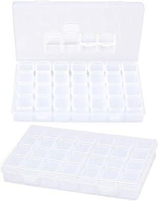 INTVN 2pcs Caja organizadora de almacenaje de joyerías cajatransparente organizaador, 28 Compartimentos plástica para joyería Pintura de Diamante y Accesorios de manicura de Arte.: Amazon.es: Joyería