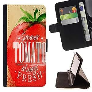 King Case - FOR Samsung Galaxy S5 V SM-G900 - summer tomato always fresh - Prima caja de la PU billetera de cuero con ranuras para tarjetas, efectivo Compartimiento desmontable y correa para la mu?eca
