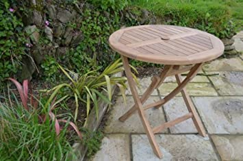 mortimer solid teak 80cm 2 6ft round folding garden table 2
