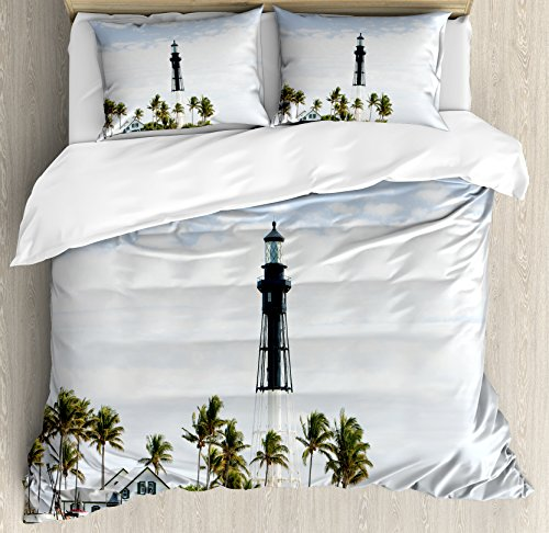 United States Duvet Cover Set Queen Size by Ambesonne, Hillsboro Lighthouse Pompano Beach Florida Atlantic Ocean Palms Coast, Decorative 3 Piece Bedding Set with 2 Pillow Shams, Blue White - Pompano You Fit