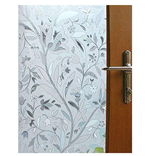 Vakker Bahay 35.5 x 78.7 Inches (90CM by 200CM) Plastic Non Adhesive Front Sliding Door Glass Film Home Office Shower Privacy Window Film Sun Blocking Static Cling Decorative Stained Window Glass Film - Door Glass Front Window