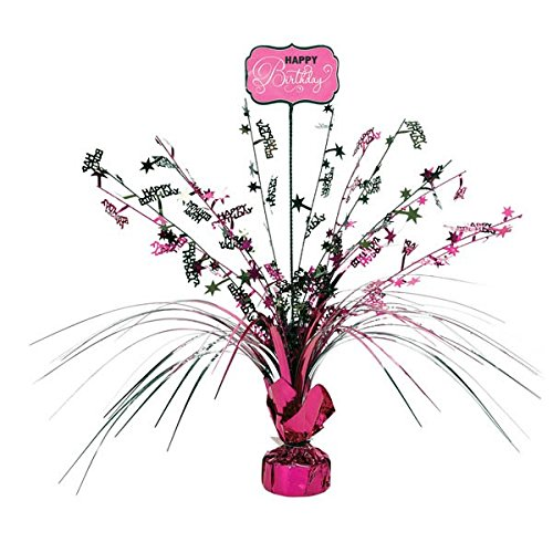 Themed Birthday Spray Table Centerpiece, 1 Pieces, Made from Foil, Black & Pink, 18