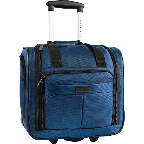 Perry Ellis Men's Excess 9-Pocket Underseat Rolling Carry-on Bag Travel Tote, Navy, One Size