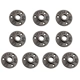 1/2 Cast Iron Floor Flange, URBEST 10 Pack Industrial Steel Fixed Base Internal Flanges Pipe Fitting with Threaded Hole for Industrial Pipe, Furniture and DIY Decoration (1/2 Inch)
