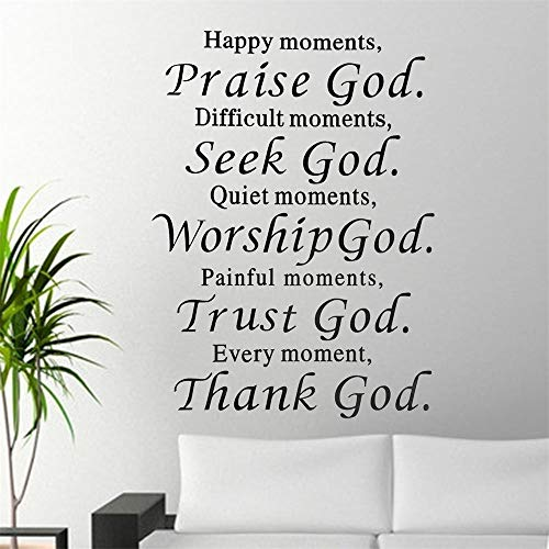 Nice-One Wall Stickers Vinyl Words Sayings Removable Lettering Praise God Seek God Worship God Trust God Thank God Bible Verse for Living Room Bedroom]()