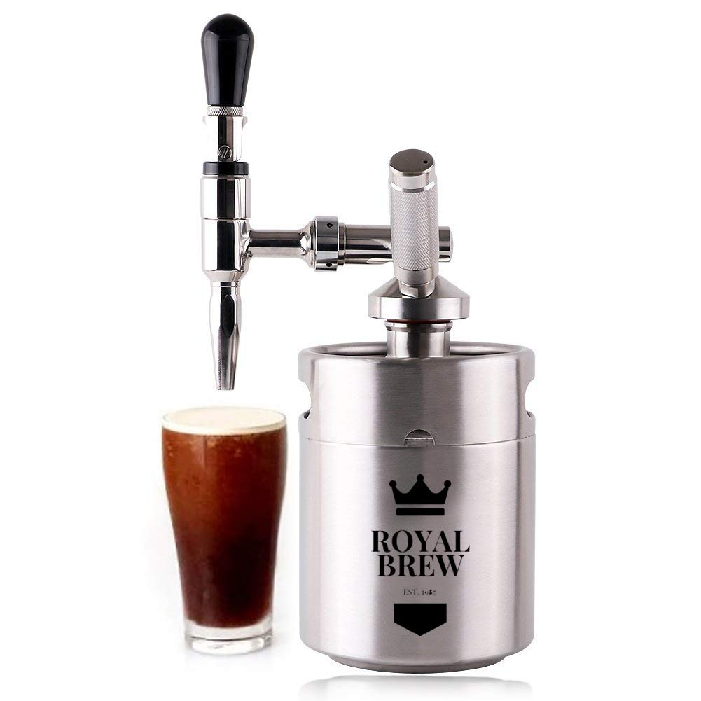 Royal Brew Nitro Cold Brew Coffee Maker Kit 64 Ounce Stainless Steel Keg Homebrew System 2.0