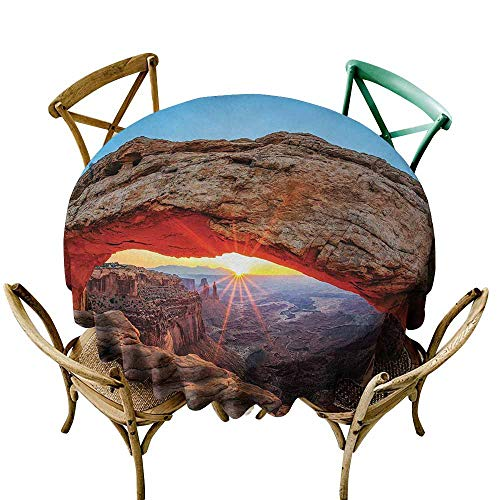 Zmlove USA Round Tablecloth Famous Sunrise at Mesa Arch in Canyonlands National Park Easy to Clean Utah (Round - 39
