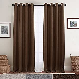 Linen Textured Curtains for Bedroom Room Darkening Window Curtains Eyelet Blackout Drapes for Living Room 2 Panels 214CM Brown