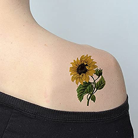 8d06b56f2 Amazon.com : Tattify Colorful Flower Temporary Tattoo - Sunny Disposition  (Set of 2 Tattoos) - Long Lasting and Waterproof : Beauty