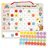 PutskA Potty-Training-Magnetic-Reward-Chart for Toddlers - Potty Chart with Multicolored Emoji & Star Stickers - Motivational Toilet Training for Boys & Girls (Animal Theme): more info