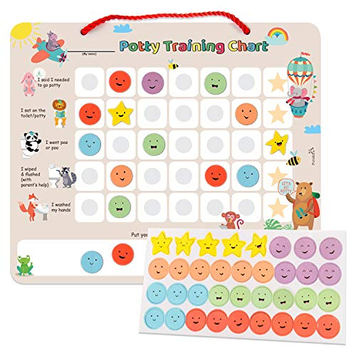 PutskA Potty-Training-Magnetic-Reward-Chart for Toddlers - Potty Chart with Multicolored Emoji & Star Stickers  Motivational Toilet Training for Boys & Girls (Animal Theme)