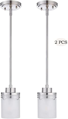Doraimi 1-Light Modern Indoor Mini Hanging Pendant Set of 2 ,Hollow Lamp Cup Brushed Nickel Finish with Frosted Glass Shade for Bar, Dining Room, Corridor,Living Room. LED Bulb not Include – 51 high