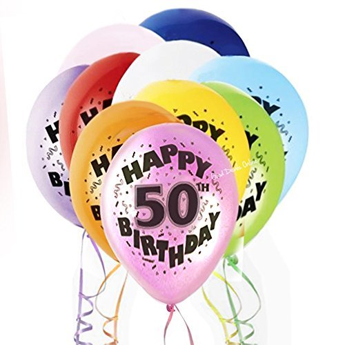 50th Mixed Multi-Coloured Happy Birthday Latex Balloons for Boy's and Girl's Birthdays - Special Occasion, Party Decoration, Coordinate with other 50th Birthday Accessories by Good Deals Online by Good Deals Online
