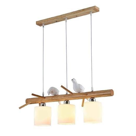 LED colgante Lámpara de madera mesa comedor techo Design ...